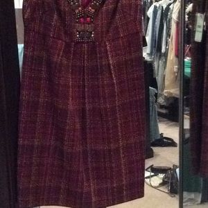 Laundry By Shelli Segal Dresses - Brown and red sleeveless dress, jewels, laundry, 8